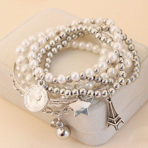 6 PCS of Fashionable Stylish Faux Pearl Decorated Star Pendant Charm Bracelets For Women