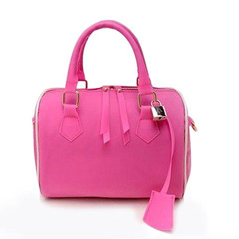 New Arrival Candy Color and Pendant Design Street Level Handbag For Women - ROSE