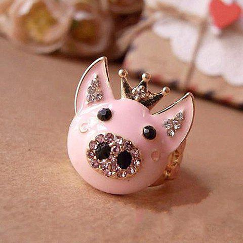 Sweet Rhinestoned Crown Design Piggy Ring - AS THE PICTURE FREE SIZE
