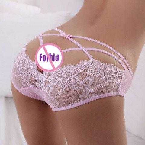 Seductive Style Openwork Transparent Lace Voile Women's T-Back - PINK ONE SIZE