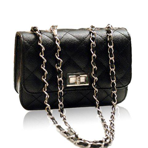 New Arrival Solid Color Checked and Chains Design Shoulder Bag For Women - BLACK