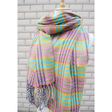 Chic Style Plaid Design Tassels Faux Cashmere Scarf For Women - GREEN