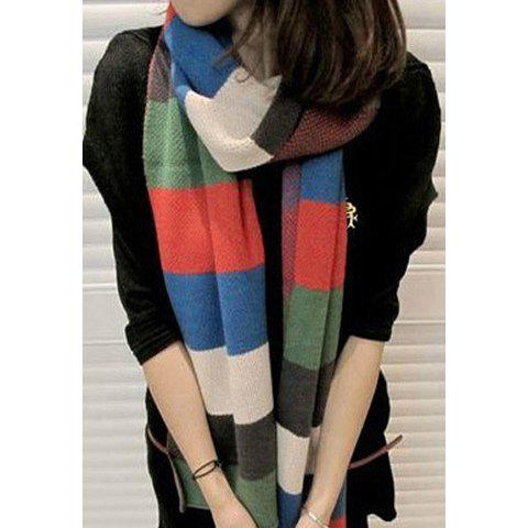 Warm Stripe Design Color Matching Wool Scarf For Women - RED