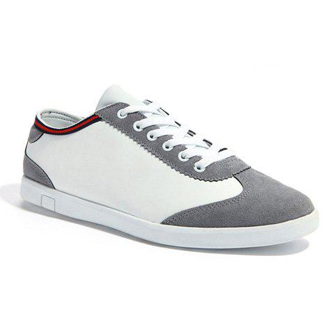 Laconic Stitching and Color Block Design Men's Casual Shoes - GRAY 39