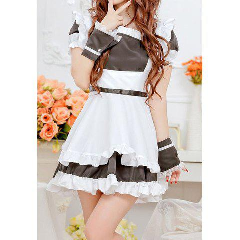 Charming Style Zipper Bowknot Decorated Maidservant Uniform Cosplay Costume For Women - BLACK ONE SIZE