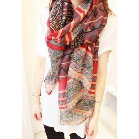 Bohemian Style Wave and Stripe Pattern Design Scarf - RED