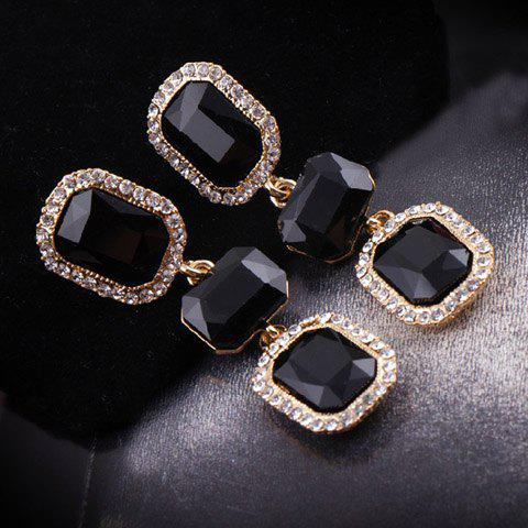 Pair of Gorgeous Diamante Gemstone Embellished Square Pendant Earrings For Women - BLACK