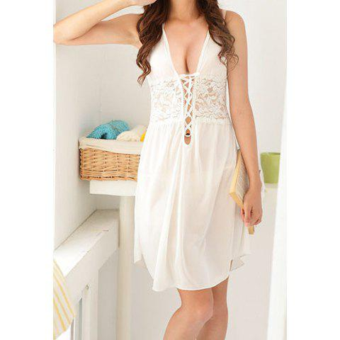 Sexy Style Lace-Up Solid Color Lace Splicing Women's Baby Dolls - WHITE ONE SIZE