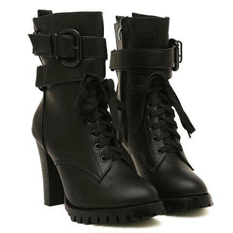 Buckled Chunky Heel Ankle Boots - BLACK 39