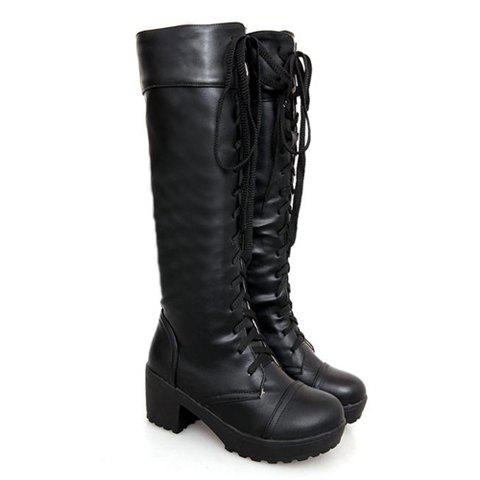 British Style Solid Color and Cross Straps Design Women's Knee-High Boots - 37 BLACK