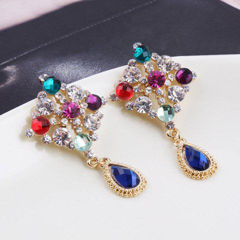 Pair of Brilliant Multi-Colored Rhinestone Embellished Waterdrop Shaped Pendant Earrings For Women