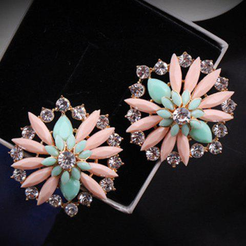 Pair of Chic Rhinestone Embellished Daisy Shaped Earrings For Women