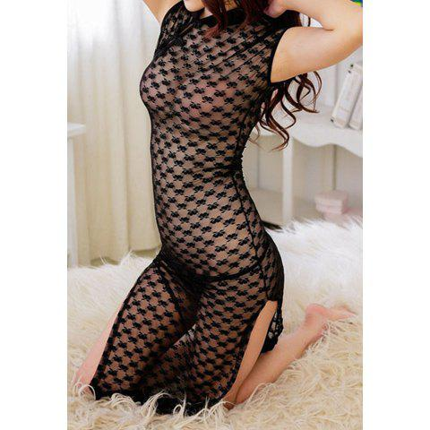 Sexy Charming See-Through Open Fork Design Lace Cheongsam Cosplay Costume For Women - ONE SIZE BLACK