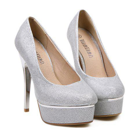 Party Sexy Gold High Heels and Sparking Glitter Design Women's Pumps - SILVER 36