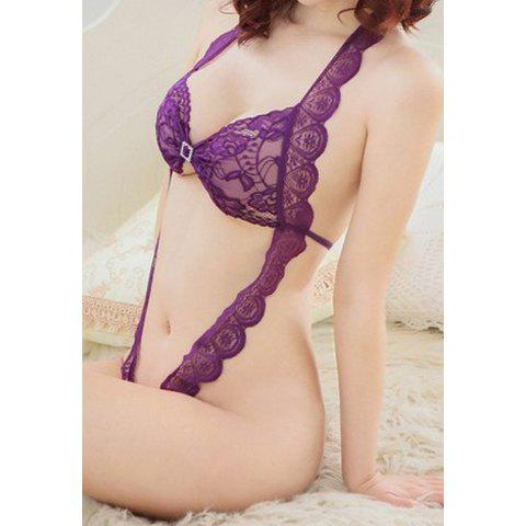 Sexy Style Halterneck See-Through Open Crotch Lace Teddy For Women - PURPLE ONE SIZE