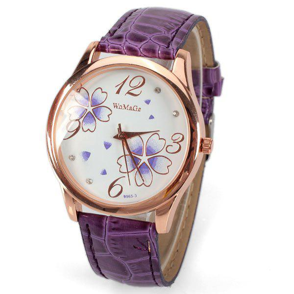 No.99653 Quartz Watch with Numbers and Dots Indicate Leather Watch Band Flower Pattern Dial for Women - BlueWatches<br><br><br>Color: PURPLE