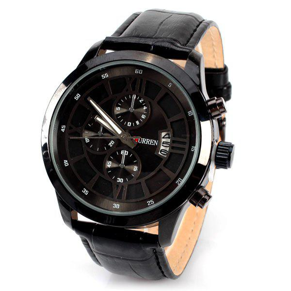 No.8137 Men Quartz Calendar Watch 4 Rome Numbers and Strips Indicate Round Dial Leather Watchband - BLACK