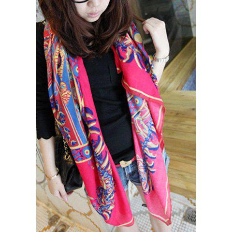 Ethic Style Totem Print Embellished Multi-Colored Square Scarf For Women - ROSE
