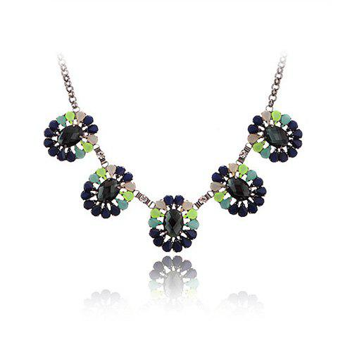 Chic Style Gem Embellished Openwork Flower Design Necklace - COLOR ASSORTED