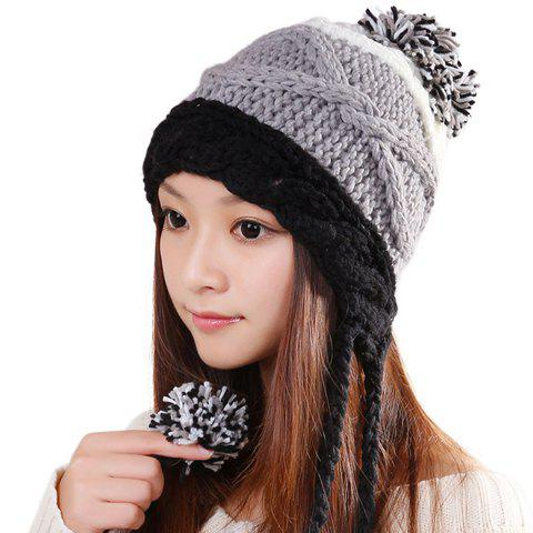 Fashion Little Ball Embellished Patchwork Design Knitted Trapper Hat For Women - COLOR ASSORTED