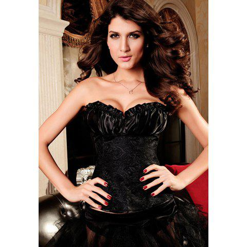 Women's Charming Lace Up Embroidery Pleated Strapless Corsets - BLACK S