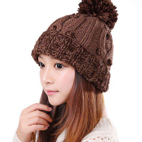 Fashion Colored Little Ball Embellished Patchwork Design Knitted Trapper Hat For Women - COFFEE