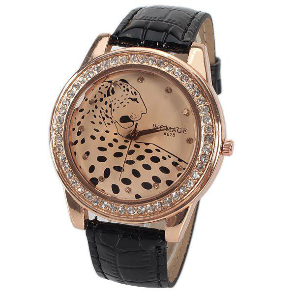 A628 Quartz Watch with 12 Small Diamond Dots Indicate Leather Watch Band Leopard Pattern Dial for Women - Black a628 quartz watch with 12 small diamond dots indicate leather watch band leopard pattern dial for women black