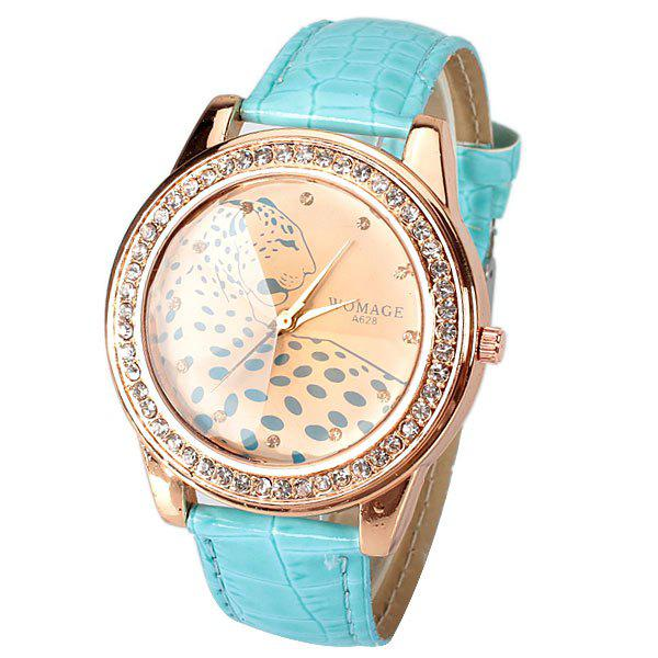 A628 Quartz Watch with 12 Small Diamond Dots Indicate Leather Watch Band Leopard Pattern Dial for Women - Blue