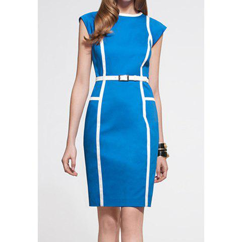 Noble Style Polyester Color Block Round Neck Sleeveless Women's Dress - BLUE L