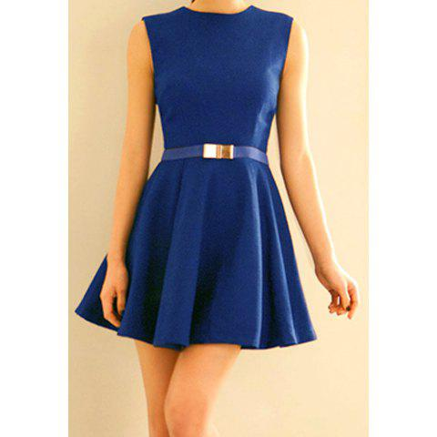 Simple Style Polyester Round Neck Zipper Sleeveless Women's Dress (Without Belt) - BLUE M