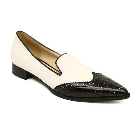 Casual Color Matching and Carving Design Women's Flat Shoes - WHITE 35