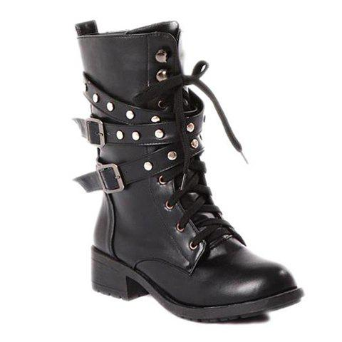 New Arrival Lace-Up and Flat Heel Design Black Boots For Women
