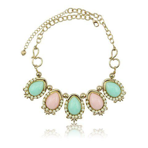Cute Colored Beaded Frog Shaped Pendant Alloy Necklace For Women - GOLD