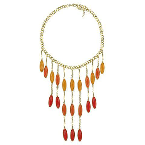 Waterdrop Shape Bead Curtains Design Alloy Necklace - JACINTH