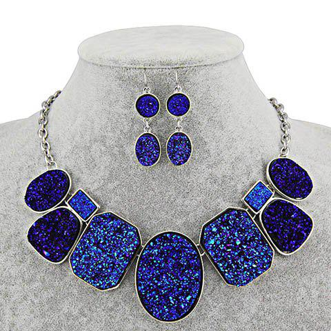 Chic Stone Texture Pendant Alloy Necklace With Earrings For Women - COLOR ASSORTED