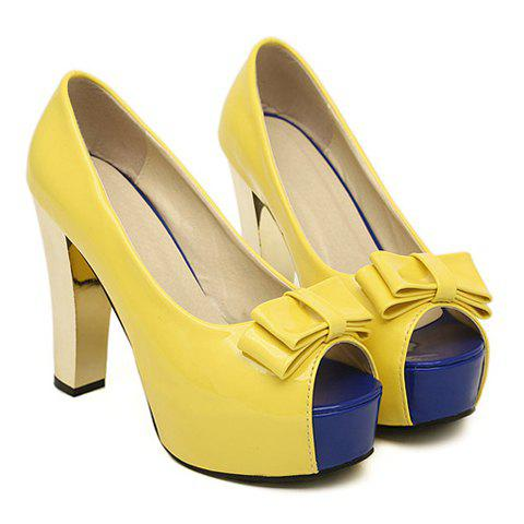 New Arrival Bow and Sexy Gold High Heel Design Peep Toed Shoes For Women - YELLOW 36