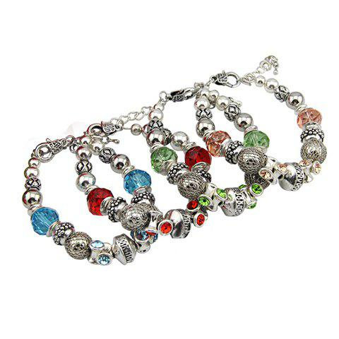 Vintage Rhinestone Embellished Beads Linked Bracelet For Women - COLOR ASSORTED