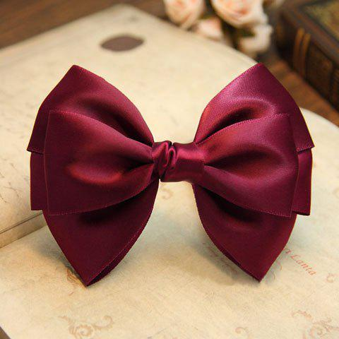 Noble Hot Sale Solid Color Ribbon Bowknot Hairpin For Women - DARK RED
