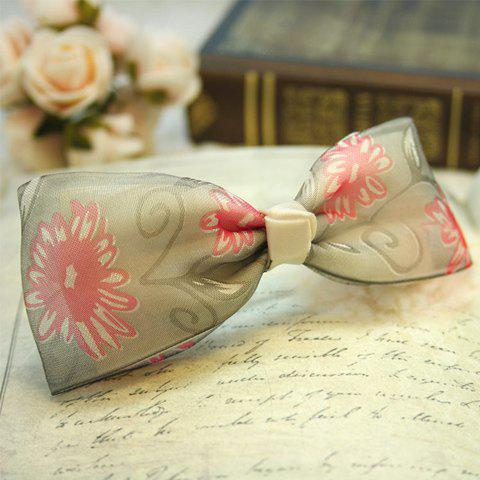 Refreshing Floral Print Design Bowknot Hairpin For Women - LIGHT GRAY