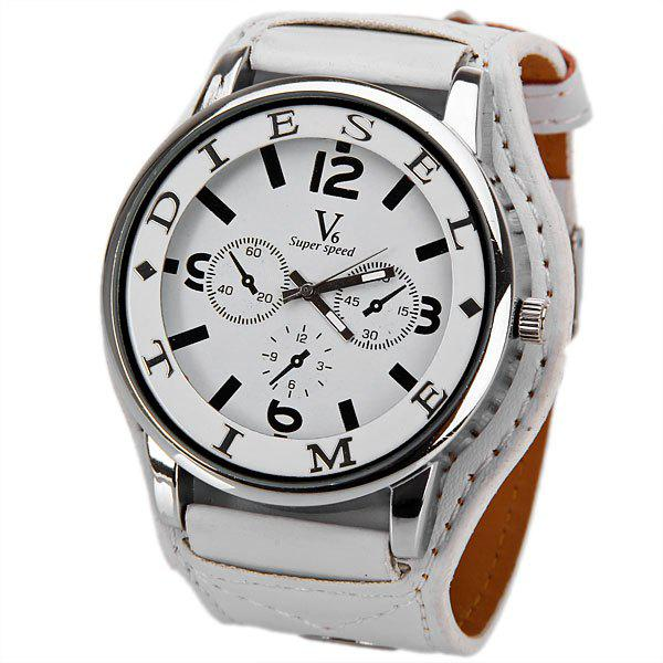 V6 DL Quartz Watch with 4 Arabic Numbers + Strips Indicate Round Dial Leather Watch Band for Women - White -