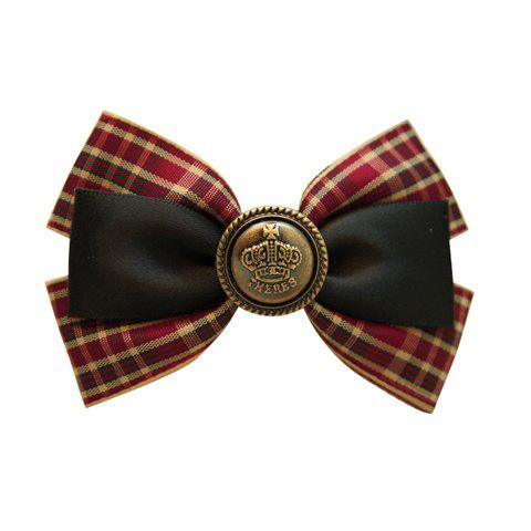 Chic Printed Button Embellished Plaid Bowknot Hairpin For Women - CHECKED