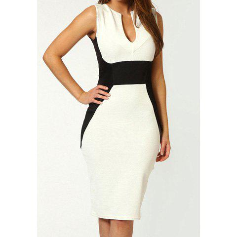 Ladylike Style Polyester Color Block Beam Waist Sleeveless Women's Bodycon Knee Length Dress - WHITE ONE SIZE