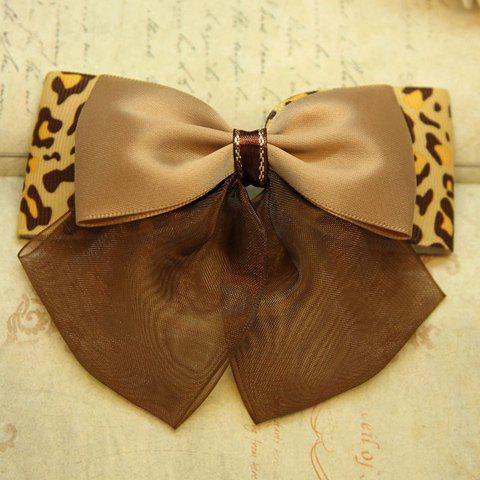 Chic Leopard Print Chiffon Decorated Bowknot Shape Hairpin For Women - LIGHT COFFEE