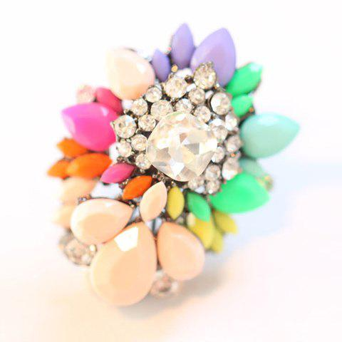Characteristic Multicolor Gem Embellished Ring For Women - AS THE PICTURE ONE SIZE