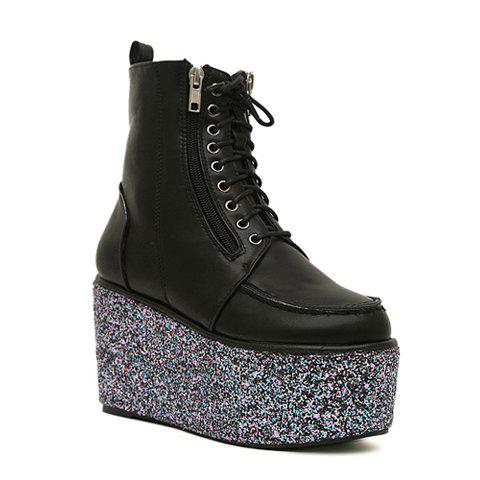 Stylish Zipper and Sequins Design Women's Short Boots - BLACK 36
