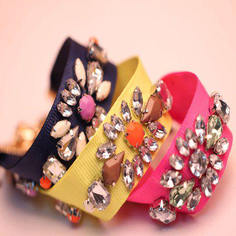 Rhinestoned Faux Gem Ribbon Bracelet - COLOR ASSORTED