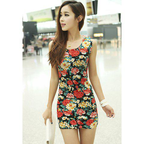 Floral Print Retro Style Cotton Blend Sleeveless Scoop Neck Women's Dress - AS THE PICTURE L