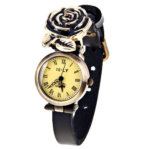 Women Quartz Watch 12 Rome Numbers Indicate Round Dial Rose Decoration Leather Watchband - White - BLACK