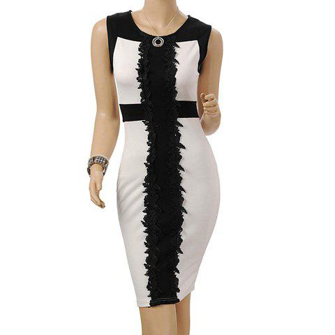 Womem\'s Polyester Color Matching Beam Waist Packet Buttock Lace Embroidered  Splicing Knee Length Plus Size Semi Formal Dress
