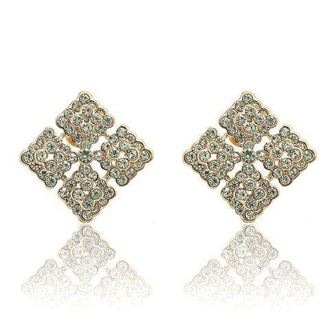Pair of Dazzling Rhinestone Embellished Hollow Square Earrings For Women - WHITE